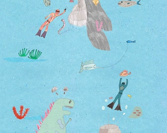under the sea dinosaur swim diving      poster illustration design
