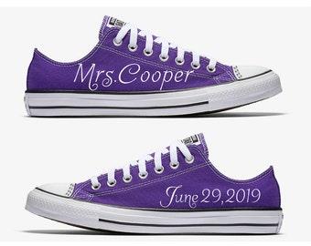 02358dd69eb64b Custom Purple and White Mrs. Bride Wedding Converse Hand Painted