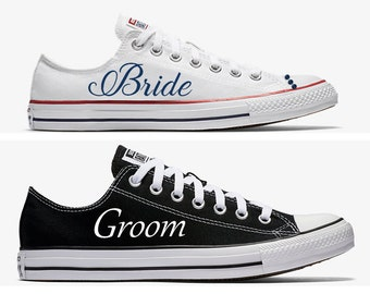 c53a3e34d19660 Custom Bride and Groom Wedding Converse White and Black Hand Painted