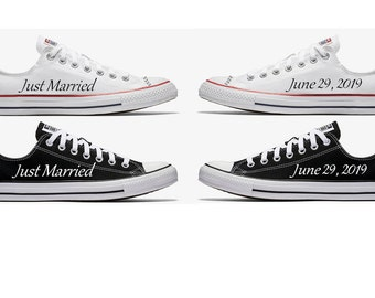 ebd575eaa32b Custom Just Married Black and White Wedding Converse Hand Painted