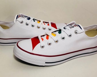 7260eb192d6dcd White Converse Hand Painted Gay Pride with Rainbow Flag