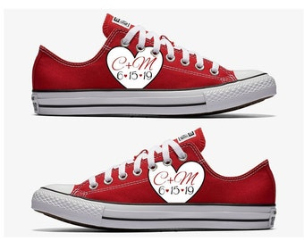 580da8fba85f67 Custom Wedding Red Converse with White Heart Hand Painted