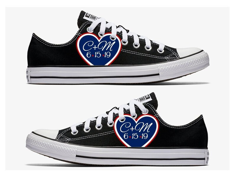 a6bab199a683 Custom Wedding Converse Black with Red White and Blue Heart