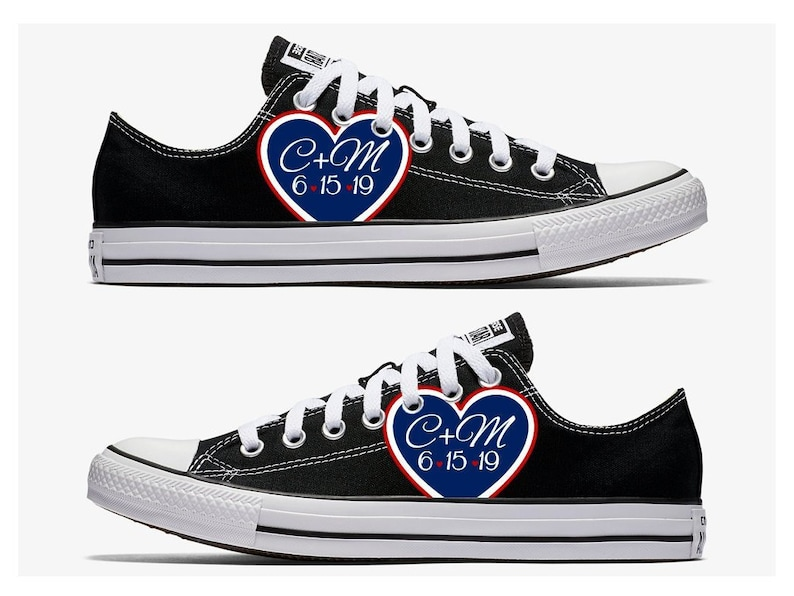26aa7e0e70d8 Custom Wedding Converse Black with Red White and Blue Heart