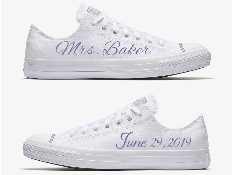 3e0e42429c75 Custom Monochrome White Mrs. Bride Wedding Converse Hand
