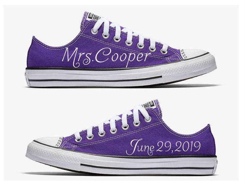 7b9b95639fe6 Custom Purple and White Mrs. Bride Wedding Converse Hand