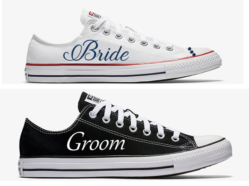 73ee2f2f997d8f Custom Bride and Groom Wedding Converse White and Black Hand