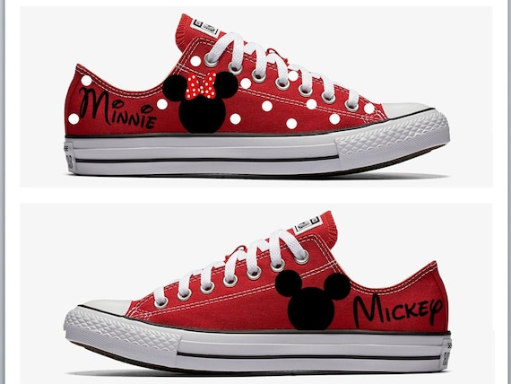 Converse Hand Painted with Mickey and Minnie Mouse Design | Etsy