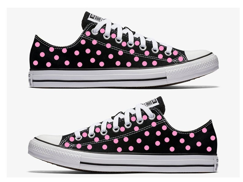 bf9cbbac44f057 Black Converse Hand Painted with Pink Polka Dots