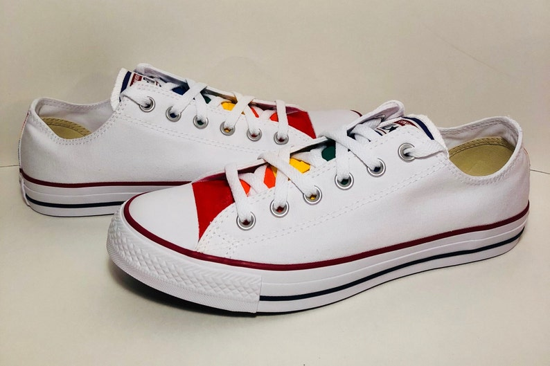 42c400ca36cd White Converse Hand Painted Gay Pride with Rainbow Flag