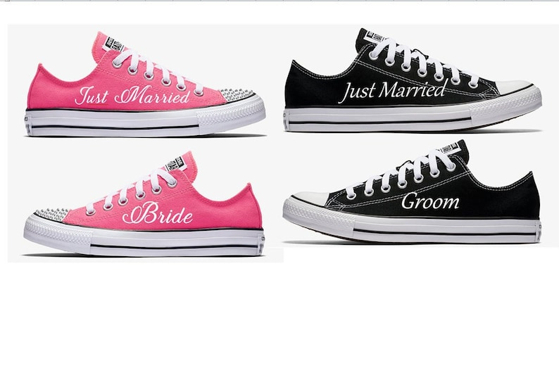 2ba87fe8a3e0d Custom Pink and Black Bride Groom and Just Married Wedding Converse Hand  Painted