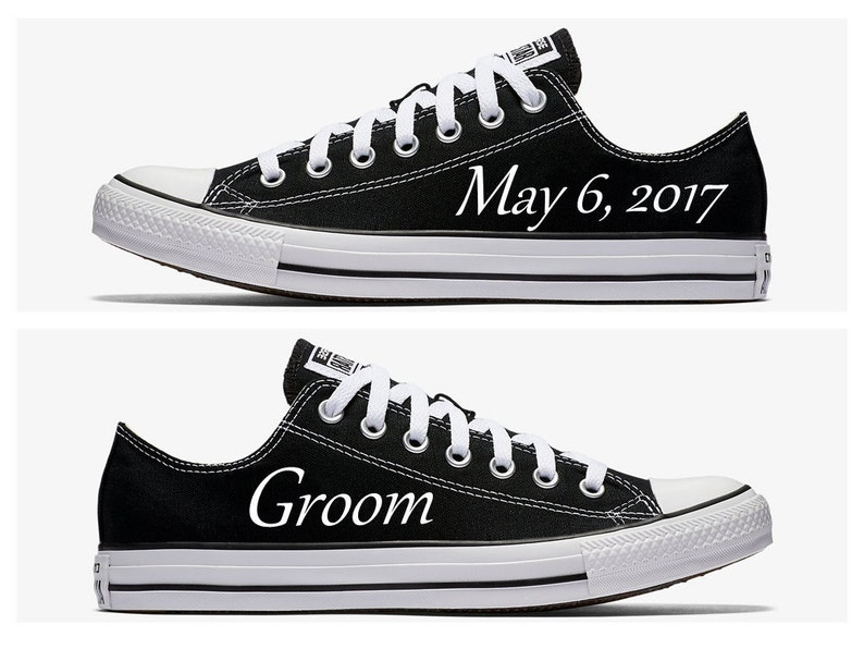 84fc0d086bb22 Custom Groom Wedding Converse Black Hand Painted