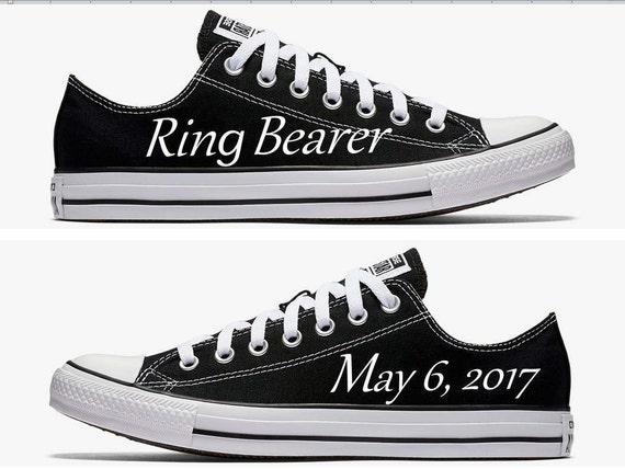 Custom Ring Bearer Wedding Converse Black Hand Painted