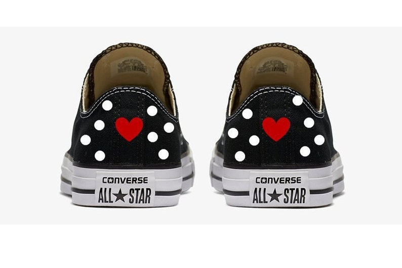 77d5a354be013 Black and White Polka Dots with Red Hearts Converse Hand Painted