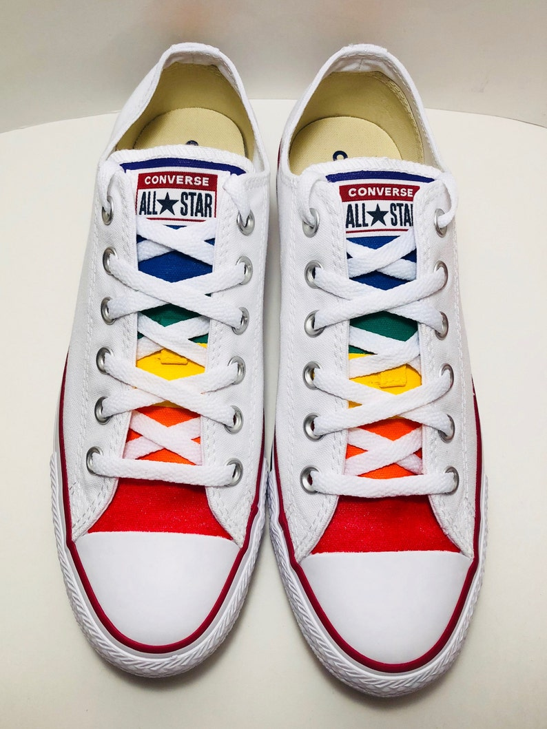 b60cdfe361b3 White Converse Hand Painted Gay Pride with Rainbow Flag