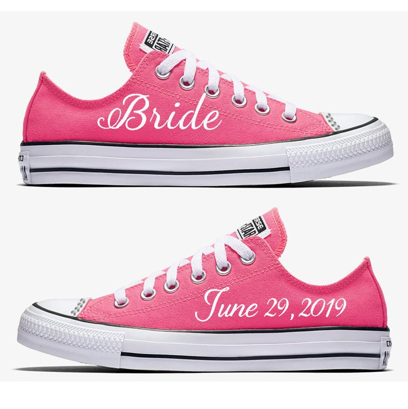6a6f71762397 Custom Pink and White Bride Wedding Converse Hand Painted