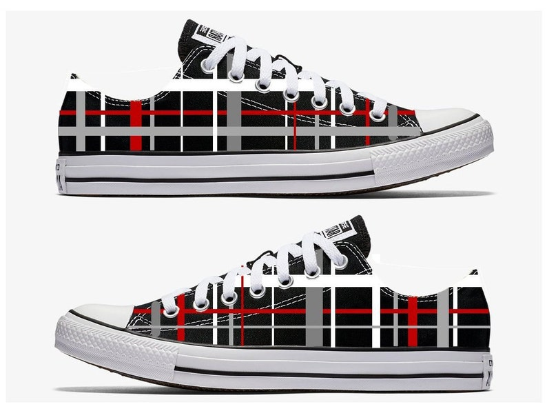 8d8ed5b789e04 Black Red and Gray Plaid Converse Hand Painted