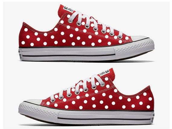 Red Converse Hand Painted with White