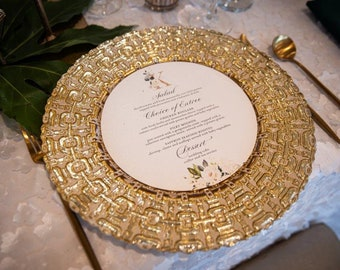"""Set of 6 13"""" Glass Gold Link Charger Plates"""