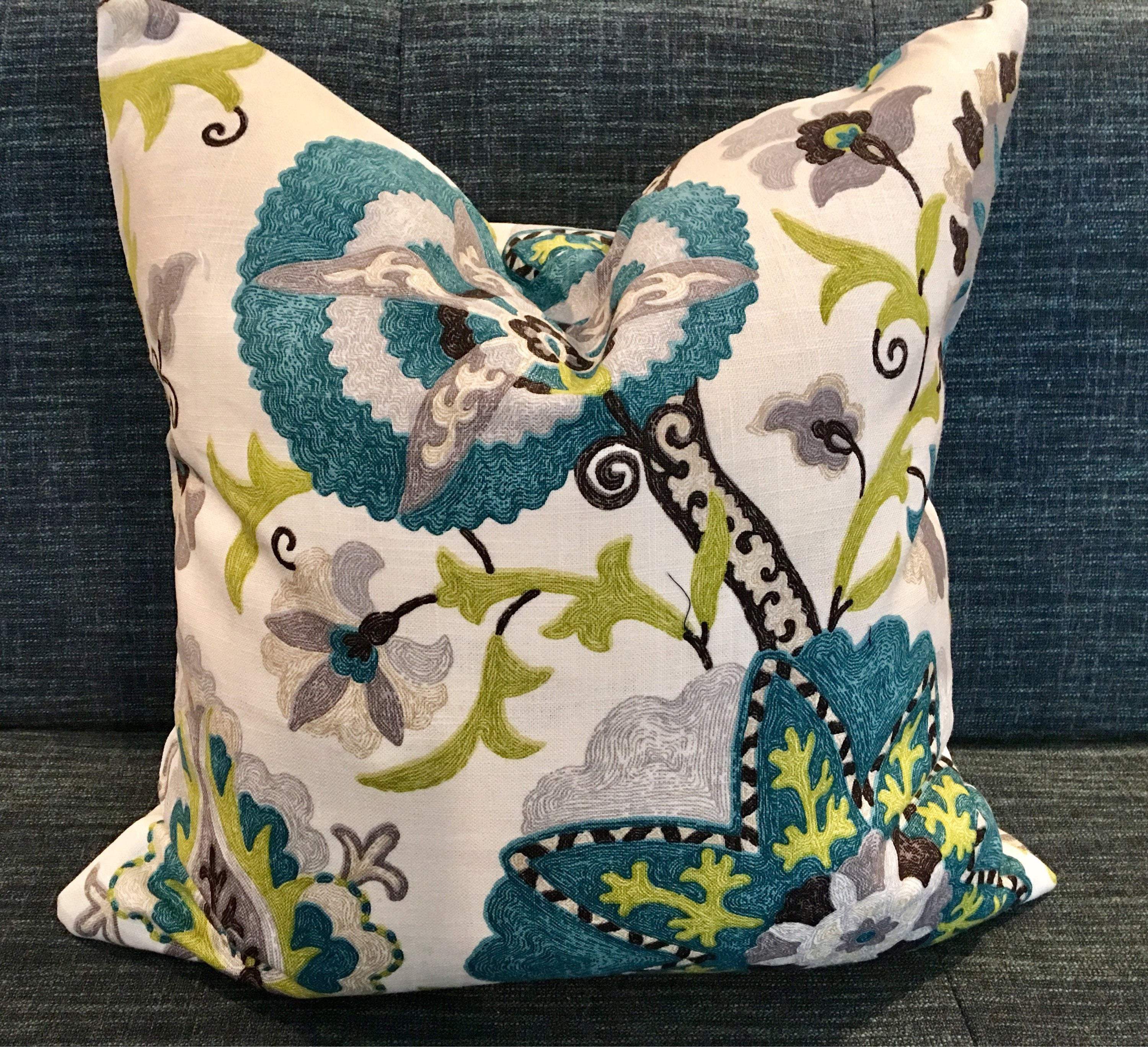 Paisley Floral Pillow Covers / Peacock Blue Chartreuse
