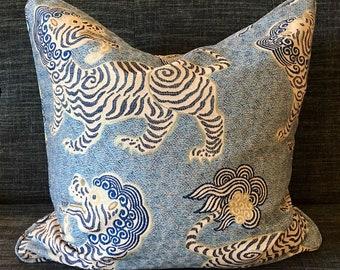 Chinoiseri Dragon Tiger Blue and White Pillow Covers / Kathmandu Porcelain Designer Fabric / Custom Handmade Home Decor