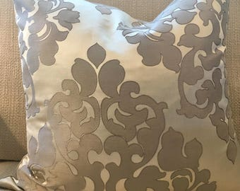 Pewter Grey and Silver Damask Pillow Cover / 18 X 18 / Designer Fabric / Handmade Home Decor Accent Pillows