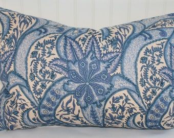Blue and Ivory Paisley Floral Pillow Cover / 16 X 22  Lumbar / Linen Upholstery with Natural Canvas Back / Handmade / FINAL SALE