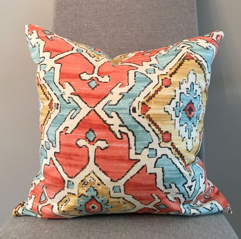 Orange Aqua Gold Geometric Custom Pillow Covers In Sundance