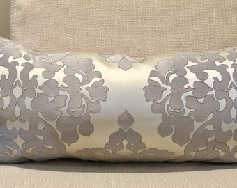 Pewter Grey and Silver Damask Pillow Cover / 14 X 26 / Designer Fabric / Handmade Home Decor Accent Pillows