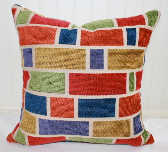 Brick Geometric Pillow Cover 18 X 18 Blue Gold Green Etsy