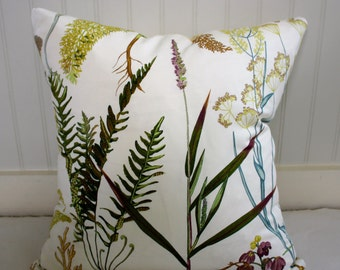 Botanical Floral Custom Pillow Cover / Designer Braemore Fern Spring Fabric / Handmade Home Decor Accent Pillows
