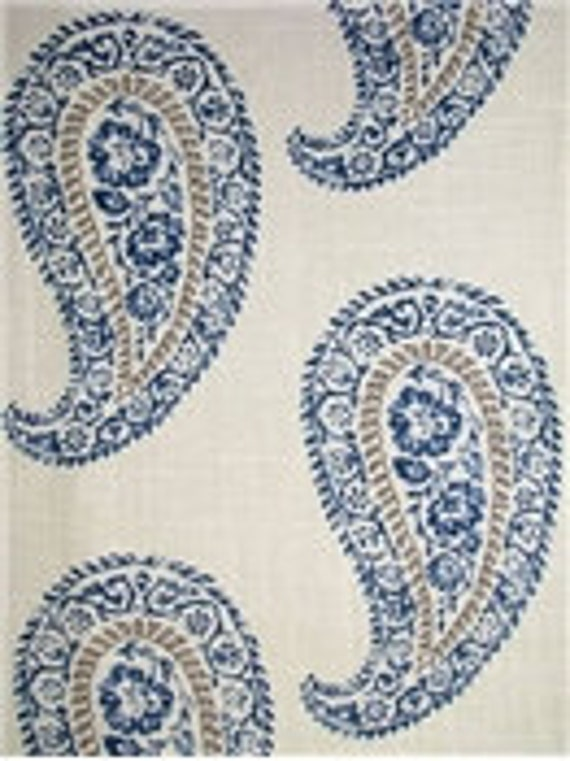 Indigo Blue Tan  and Beige Paisley Pillow Covers  Designer Mandha Indigo Fabric  Handmade Home Decor Accent Pillow  In Stock