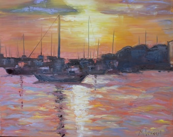 Original Oil Painting / Sunset on Southport Marina / Waterfront Boat Painting, South Carolina / Fine Art Oil on Canvas / 24 X 30