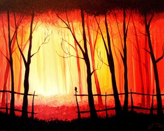 At the Entrance of the Woods - Original Acrylic Dark Fine Art - Landscape