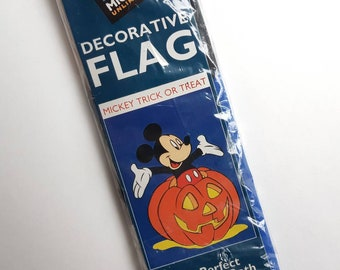 "Vtg. MICKEY UNLIMITED  Mickey Mouse & Pumpkin Halloween Decorative Flag- 29.5"" x 41.5"" Disney Jack o Lantern Home Decor Made in Korea"