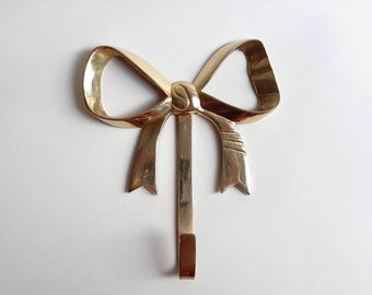 """Sweet Vintage Solid Brass Bow Wall Hook- 6"""" Long Home Decor Storage Organization Clothes or Decor Hanging Made in India"""