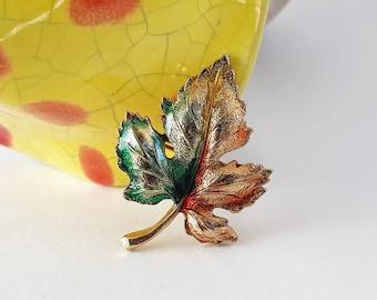 Pretty Vintage Leaf Brooch w/ Painted Enamel Detail- Green Orange Gold Tone Autumn Fall Maple Earthy Forest Leaves
