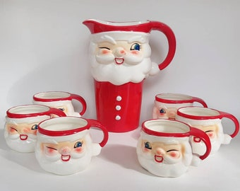 Vintage Holt Howard Style Winking Santa Pitcher & 6 Cups Set Made in Japan- 1950s Kitsch Christmas Holiday Collectible Home Decor Drinkware