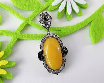 Vintage Ornate Yellow Jade & Rhinestone Sterling Silver Pendant- Marked 925 China Black Clear Stones Cabochon Hinged Bail Art Deco Revival