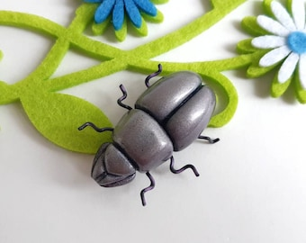 Funky Vintage Glass Beetle Brooch w/ Wire Legs- Insect Bug Animal Figural Pin Handmade Artist Crafted Metallic Gray-Purple Color