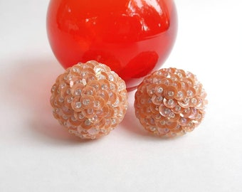 Mid Century Vintage Sequin & Bead Button Style Pierced Stud Earrings- Peach Blush Color Chunky Funky Fun Mod Classic Retro Pinup Fashion