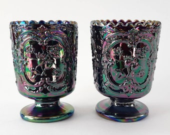 """Pair of Vintage FENTON """"Wild Strawberry"""" Iridescent Amethyst Carnival Glass Toothpick Holders- Mid Century Collectible Glass"""