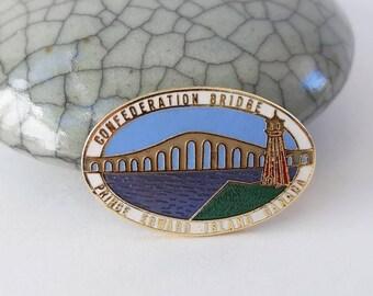 Vintage Enamel Souvenir Pin from Confederation Bridge Prince Edward Island Canada- Travel Collectible Lapel Pin PEI