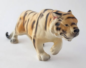 Mid Century Vintage Prowling Tiger Figurine Made in Japan- Collectible Ceramic China Animal Boho Jungle Home Decor