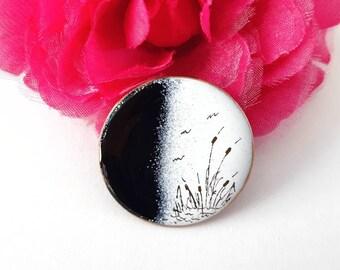 Vintage Boho Enamel On Copper Brooch w/ Cattail Design- Black & White Artist Handmade Birds Marsh Nature Simple Minimalist Earthy Bulrush