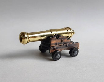 Small Vintage Metal Miniature Cannon Figurine w/ Moving Barrel on Carriage & Wheels- Collectible Military Artillery Brass Copper Look