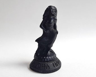 "Vintage COCO JOE'S ""Aloha Hawaii"" Black Hula Girl Figurine Statuette- Made with Lava in Hawaii Tropical Tiki Beach Home Decor Collectible"