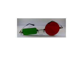 bfd22f22c21f8 Red circle and green Rectangle Cosplay Costume Glasses Frameless V4