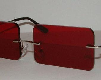 Red rectangle cosplay costume glasses V3