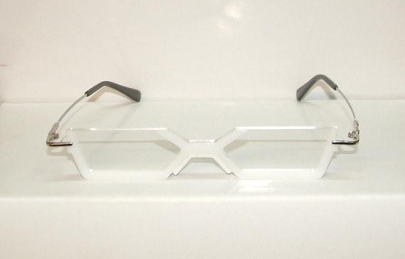 White frame cosplay costume glasses | Etsy